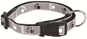 Silver Reflect Collier, Chien, S–M: 30–45 cm/15 mm, noir/gris - très réfléchissant - entièrement réglable