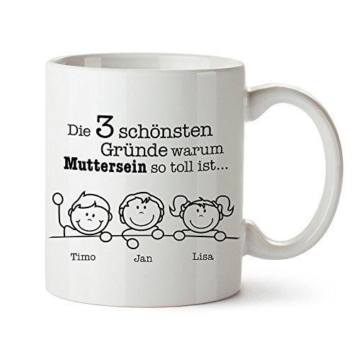 Casa Vivente Weiße Keramiktasse mit Aufdruck - Gute Gründe Muttersein - Personalisiert mit [Namen] der Kinder - Individueller Kaffeebecher - Geschenkidee für Frauen zum Muttertag - Geburtstagsgeschenke