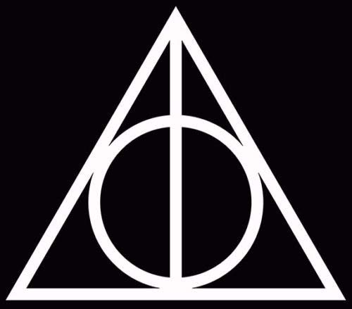 Harry Potter Vinyl Car Window Decal Deathly Hallows Symbol Sticker White, Die Cut Vinyl Decal for Windows, Cars, Trucks, Tool Boxes, laptops, MacBook - virtually Any Hard, Smooth Surface - White-box-laptops