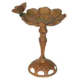 aubaho Birdbath - garden sculpture bird bath - antique style - iron - brown butterfly
