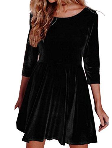 D-Pink Damen Samt Festkleid A-linie Kleid Cocktail Party Gefaltete dreiviertelArm Minikleid Schwarz