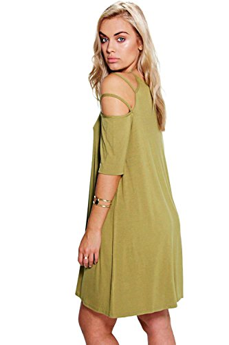 olive Hommes Plus Ada Ouvert Épaule Strappy Swing Robe Olive