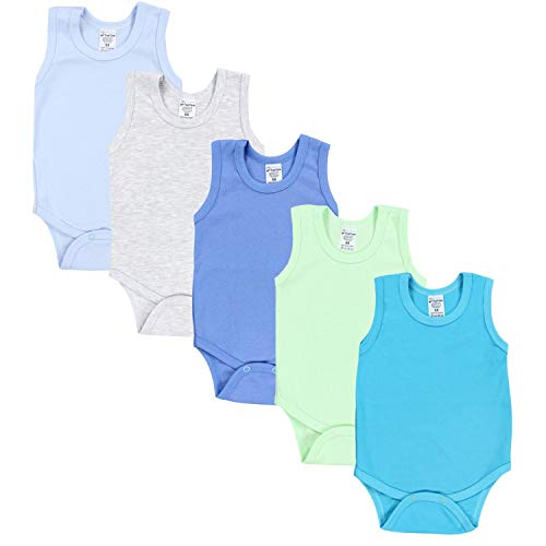TupTam Baby Jungen Achselbody in Unifarben 5er Pack, Farbe: Farbenmix 2, Größe: 74