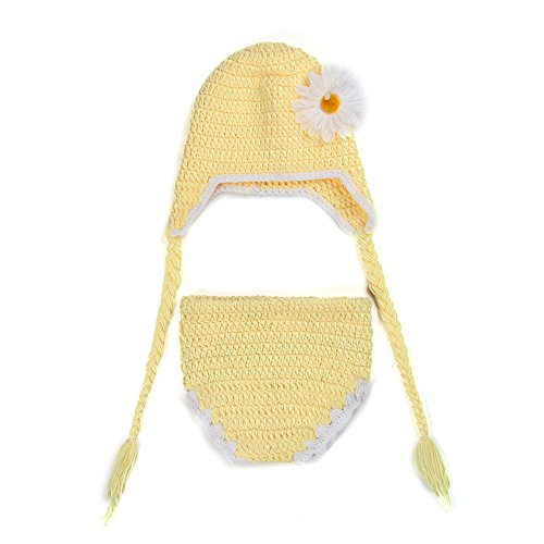 Little Sporter Sunflower Vêtements Vêtements en tricot fait faite à la main Vêtements bébé requisiten gratuitement Halo Bonnet en tricot Photographie Vêtements