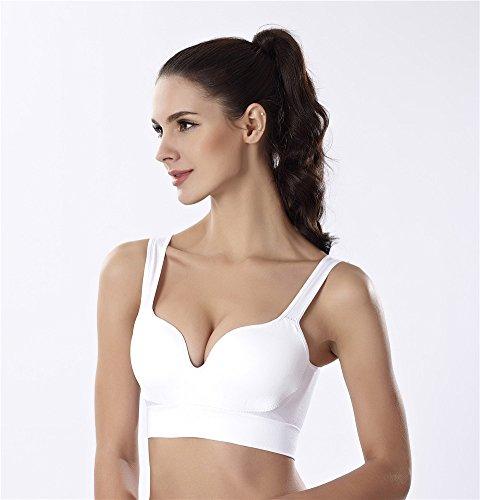 YeeHoo Donne Bracelet imbottito rimovibile delle Donne spingono il reggiseno di yoga di forma fisica bianca