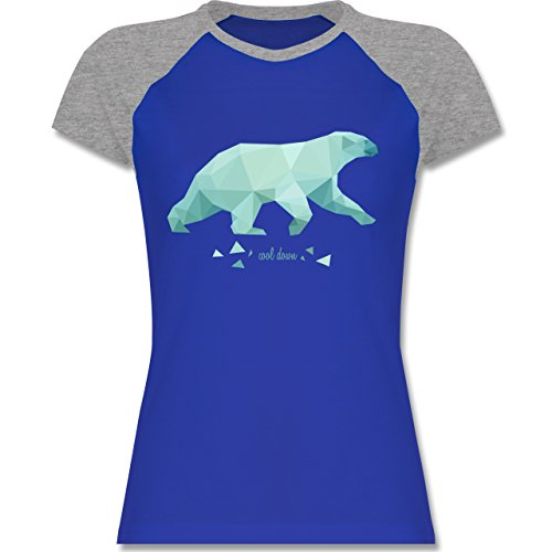 Wildnis - Cool down - zweifarbiges Baseballshirt / Raglan T-Shirt für Damen Royalblau/Grau meliert