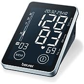 Oberarm-Blutdruckmessgerät BM 58, vollautomatische Blutdruck- und Pulsmessung am Oberarm mit Sensor-Touch-Knöpfen und beleuchtetem XL-Schwarzdisplay