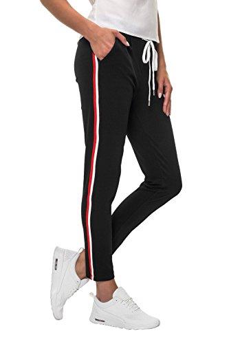 Hachiro Damen Hose Freizeithose 7/8-Hose Sportswear Style (XL, Black/Francia)