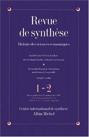 Revue de Synthèse, numéro 1-2 : Histoire des sciences économiques