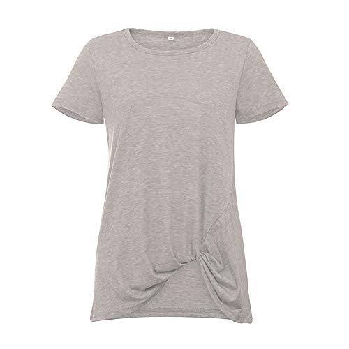 Stil & Co-woman-stretch Gürtel (Damen T-Shirt Rundhals Kurzarm Ladies Sommer Casual Oberteil Locker Bluse Tops,Verknoteter Rundhals hellgrau XXL)