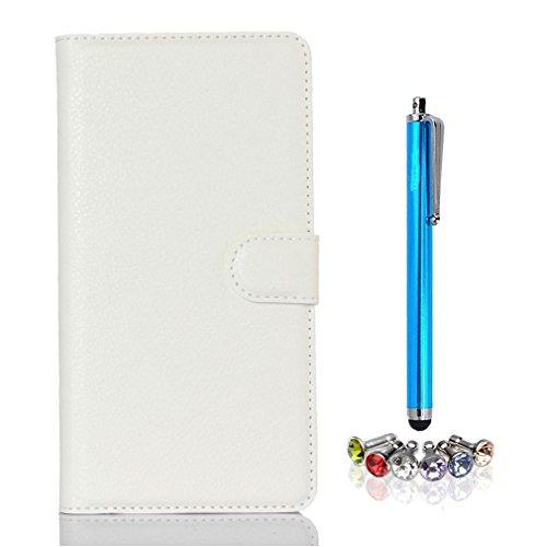 A9H Doogee NOVA Y100X Hülle,PU Leder Wallet Case Folie Bookstyle Tasche Flip Cover Schutzhülle Lederhülle -White