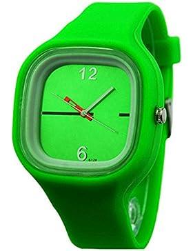 Herren Damen Gelee Silikon Fashion Quartz Armbanduhr Uhr Grün