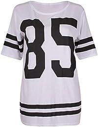 Purple Hanger - T-Shirt Femme Varsity Baseball Motif 85 Université Américaine Extensible Col Rond Rayé Manche Courte Long