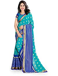 Oomph! Women's Printed Georgette Sarees - Sapphire Blue & Berry Blue