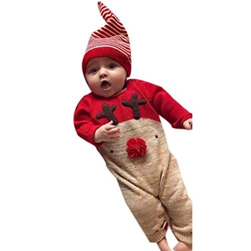 Sonnena Neugeborene Kid Baby Deer Christmas Jungen Mädchen Kleidung Jumpsuit + Hat Set Outfits 0-6M - Halloween-dot, Punkte 1-10