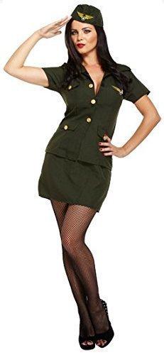 Damen Sexy Khaki Grün Armee Mädchen Militärisch Krieg Streitkräfte Kostüm Kleid Outfit UK (Erwachsenen Militärische Jacke Kostüme)