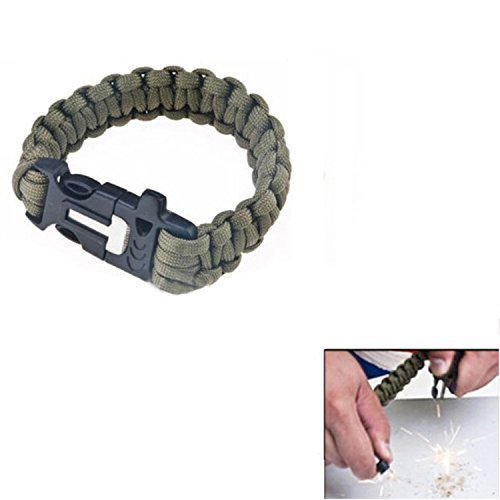 Camping Hiking Outdoor Paracord Survival Bracelet Buckle W / Flint Fire Stone Olive Green