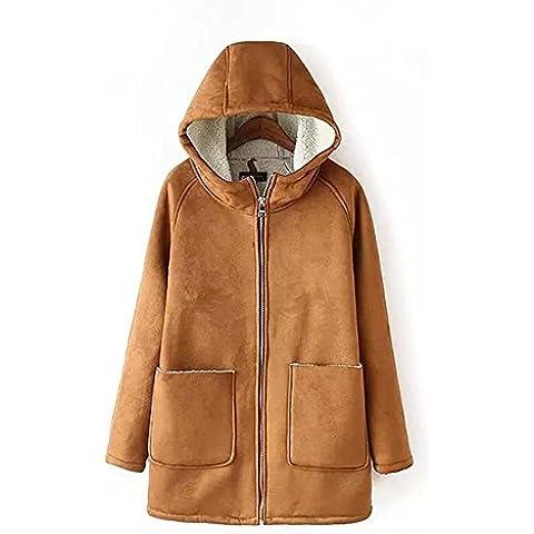 ZZHH Cappotto di lana di addensare con cappuccio in pelle scamosciata donna Capispalla . l