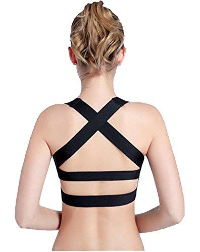 LemonGirl Damen High Impact Criss Cross Rücken BH Yoga Gym Fitness Sport BH