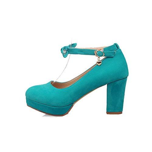 Suédé Légeres Haut Rond Cyan Femme à Chaussures Couleur VogueZone009 Talon Unie Boucle 8x5OqZv