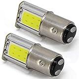Led Stop Frein ampoule 12V 1157BAY15D 7528205723572397Cob-4smd Queue de voiture de stationnement inverse ampoules 6000K Blanc (lot de 2)