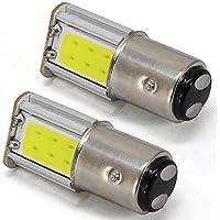 Bombilla LED de freno de 12 V 1157 BAY15D 7528 2057 2357 2397 COB-4SMD para coche con luces de marcha atrás, 6000 K, color blanco (Pack de 2)