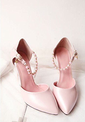 Aisun Damen Süß Geschlossen Kunstleder Künstlich Perlen Stiletto Sandale Mit Schnalle Pink
