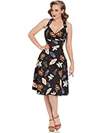 Voodoo Vixen Lucy Las Vegas Neon Casino Vintage Party Flare 50s Retro Dress