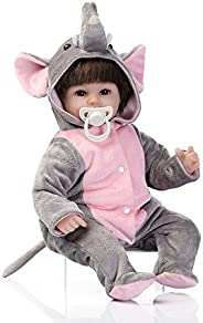 Goolsky 16inch 41cm Silicone Reborn Toddler Baby Doll Girl Body Boneca With Clothes Brown Eyes Lifelike Cute G