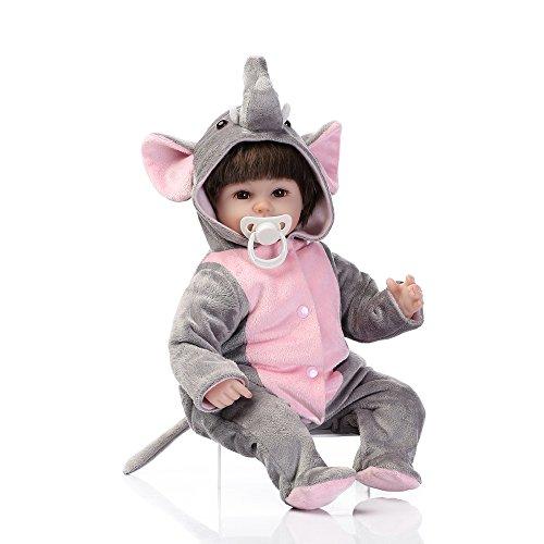 Decdeal Réaliste Bébé Poupée Silicone Reborn Toddler Bébé Poupée Fille Corps Boneca Avec Des Vêtements Brun Yeux Réaliste Mignon Cadeaux Jouet