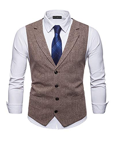 YCUEUST Uomo Tweed Single Breasted Classici Senza Maniche Gilet Partito Cerimonia Formal Waistcoat Beige XXX Large
