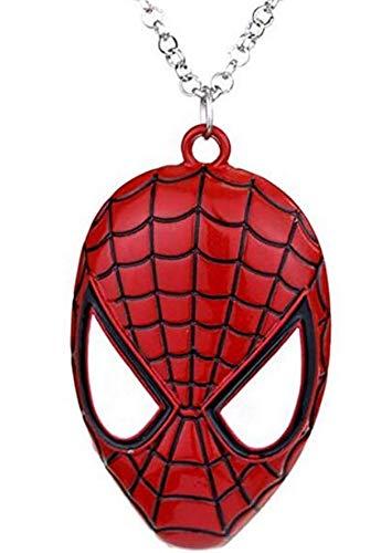 Supereroi Spiderman-Halskette für Herren, Motiv: Spinnen, Superhelden Medaillon, Hero Film Verkleidung, Halloween Karneval, Jungen, Cosplay, Rot
