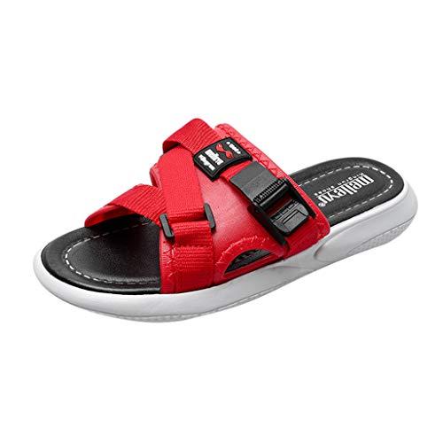 Yvelands Damen Strand Sandalen Mode Männer Paare Casual Plattform Hausschuhe Outdoor Schuhe(Rot,36)