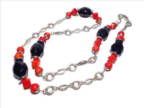 schwarze Onyxoliven Halskette mit Bambuskorallen 2028 (Bausatz - siehe (Modeschmuck 2028)