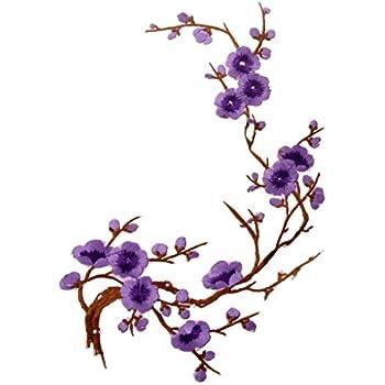 1pcs plum blossom blumen stickerei applikationen. Black Bedroom Furniture Sets. Home Design Ideas