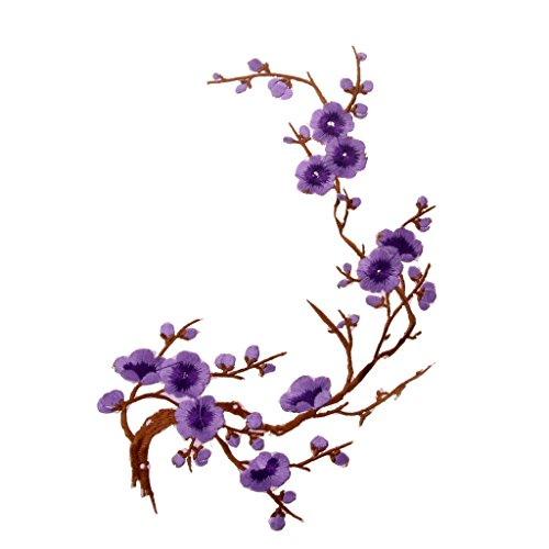 1Pcs Plum Blossom Blumen-Stickerei Applikationen Bügelbilder Flicken Stoff Patch für Kleidung Kleider Patches Aufnäher zum aufbügeln - Lila