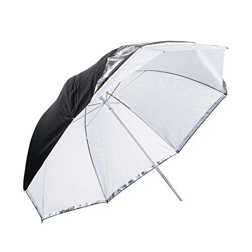 PhotoSEL UM236 - Ombrello per fotografia da 91 cm, con rivestimento removibile, colore: Bianco/Argento