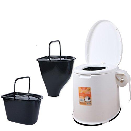 MyAou-commode Toilette de Camping Léger et portatif Adapté pour l'utilisation intérieure et extérieure Loo Camping Caravane Pique-Nique Pêche et Festivals (Couleur : Blanc)