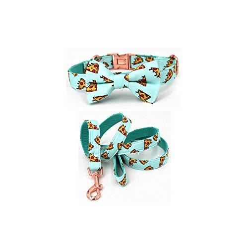 Hundehalsband und Leine mit Fliege für große und kleine Hund Baumwollgewebe Kragen Roségold Metallschnalle, Kragenbogen Leine, S (20-30 cm Länge)