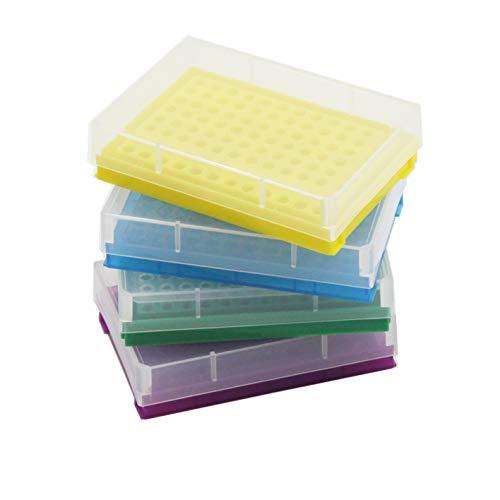 PCR-Röhrchen-Rack für 0,2-ml-Mikroröhrchen, Packung mit 4, 8 x 12 Array (Blau/Gelb/Lila/Grün)