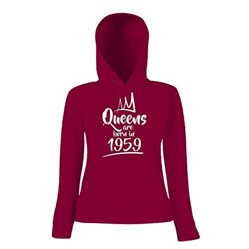 Queens are born in 1959 Hoody   Geburtstags-Hoody   Jahrgang   58. Geburtstag   Frauen   Kapuzenpullover Schwarz