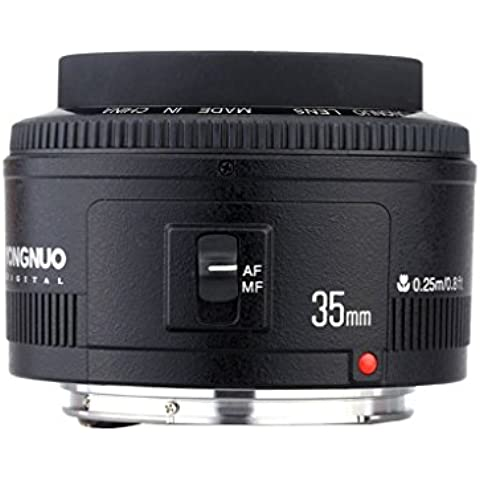 Yongnuo YN35mm F2 Lens 1:2 AF / MF Wide-Angle Fixed / Prime Auto Focus Lens per Canon EF Mount EOS Camera - 22 Angle Pezzo
