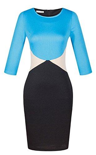 La Vogue Robe Midi Femme Moulant Crayon Manche Courte Col Rond Taille Haut Bleu
