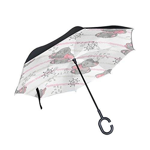 Mnsruu - Paraguas invertido de Doble Capa para Vela, Elefantes, Paraguas Plegable...