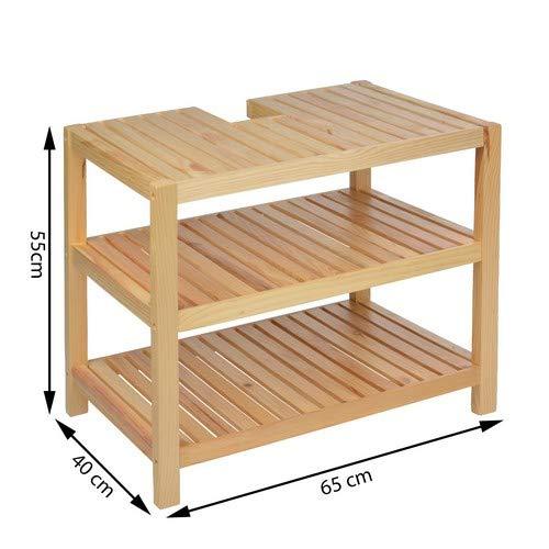 Waschtischunterschrank, Holz, Braun – 40x65x55cm - 2