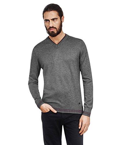 VB-Maglione da uomo con scollo a V, Strisce a contrasto, slim Dark Grey Large