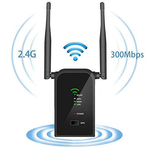 Aigital WLAN Repeater, WiFi Range Extender Verstärker(2,4 GHz 300 Mbps IEEE802.11n/g/b mit WPS Wireless Access Point/WiFi Long Range Extender Mini Router AP Network Signal verstaerker -