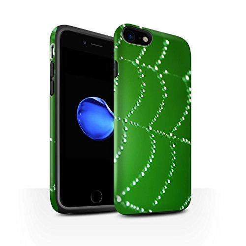 STUFF4 Matte Harten Stoßfest Hülle / Case für Apple iPhone 8 / Orange Muster / Spinnen Netz Perlen Kollektion Grün