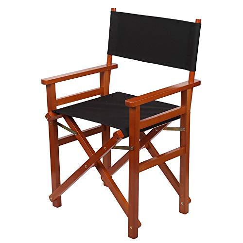 Chaise pliante de directeur, chaise portative en bois de teck, chaise de maquilleur Painters Backpackers, pour les amateurs de camping en plein air, amateurs de pêche et tout le monde,Blackcloth