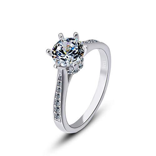 Damenring, Diamantring, 925Er Sterlingsilberschmuck, Geschenkschmuck, Hypoallergener Diamantring,Als Show,Nein.18 - Regelmäßige 18-licht
